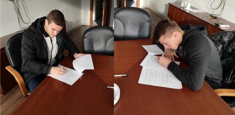 Nikčević i Bakić potpisali prve profesionalne ugovore-BojicaNikčević,VasilijeBakić-